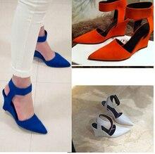 ผู้หญิงรองเท้าแตะลิ่ม2016แฟชั่นแบรนด์ข้อเท้านิ้วเท้าชี้ปั๊มรองเท้าเซ็กซี่รองเท้าส้นสูงสีดำสีฟ้าผู้หญิงรองเท้าZ Apatos