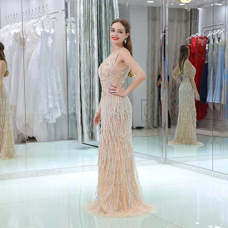 139587e81dd ... Роскошные Длинные вечерние платья 2018 Русалка без рукавов с v-образным  вырезом из бисера Кристалл ...