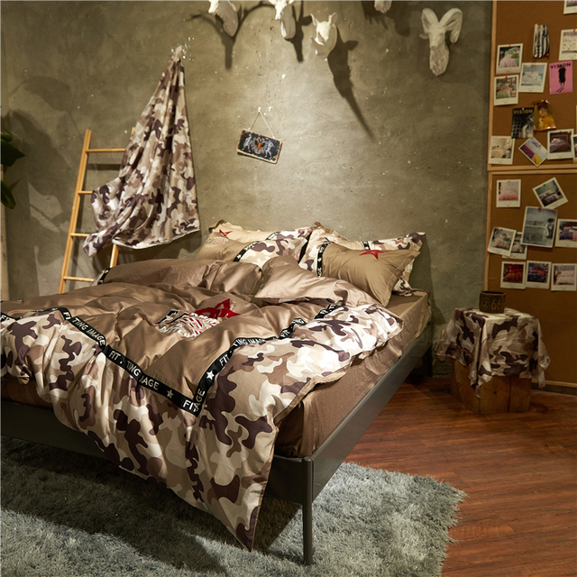 4pcs Luxury Egypt Cotton Wolf Warriors Bedding Set Embroidery Camouflage Duvet Cover Bed Sheet Pillowcases