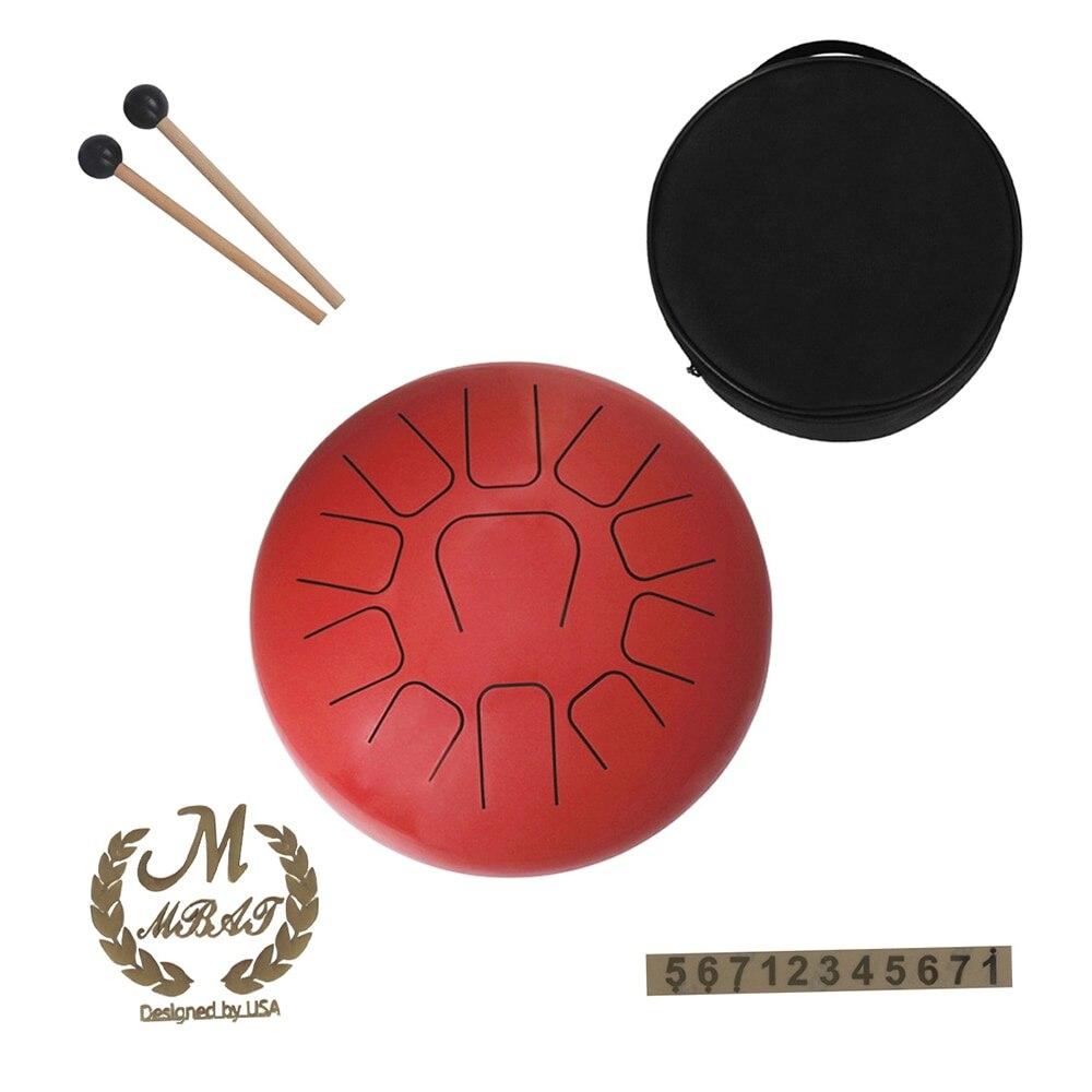 Tambour à langue en acier de 12 pouces tambour à main 11 tons Instrument à Percussion en acier inoxydable avec maillets à tambour sacs de transport bâtons de Note