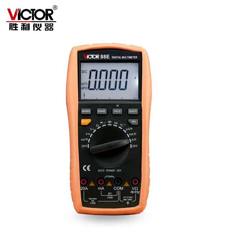 Victor VC88E Multimeter Professional Manual Range 2000 Counts 20A 1000V Resistance Capacitance Inductance Temperature nflc victor digital multimeter 20a 1000v resistance capacitance inductance temp vc9805a