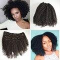 3c, 4a, 4b, 4c Afro Kinky Curly Grampo Na Extensão Do Cabelo Humano Virgem Mongolian Do Cabelo Humano Clipe no Cabelo Para As Mulheres Negras