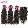 3 Bundles Brazilian Virgin Hair Deep Wave With Lace Closure 4Bundles Lot Deep Curly Human Hair Extension Shipping Free
