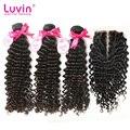 3 pacotes brasileiro do cabelo virgem profunda onda com lace closure 4 bundles lot profunda curly extensão do cabelo humano frete grátis