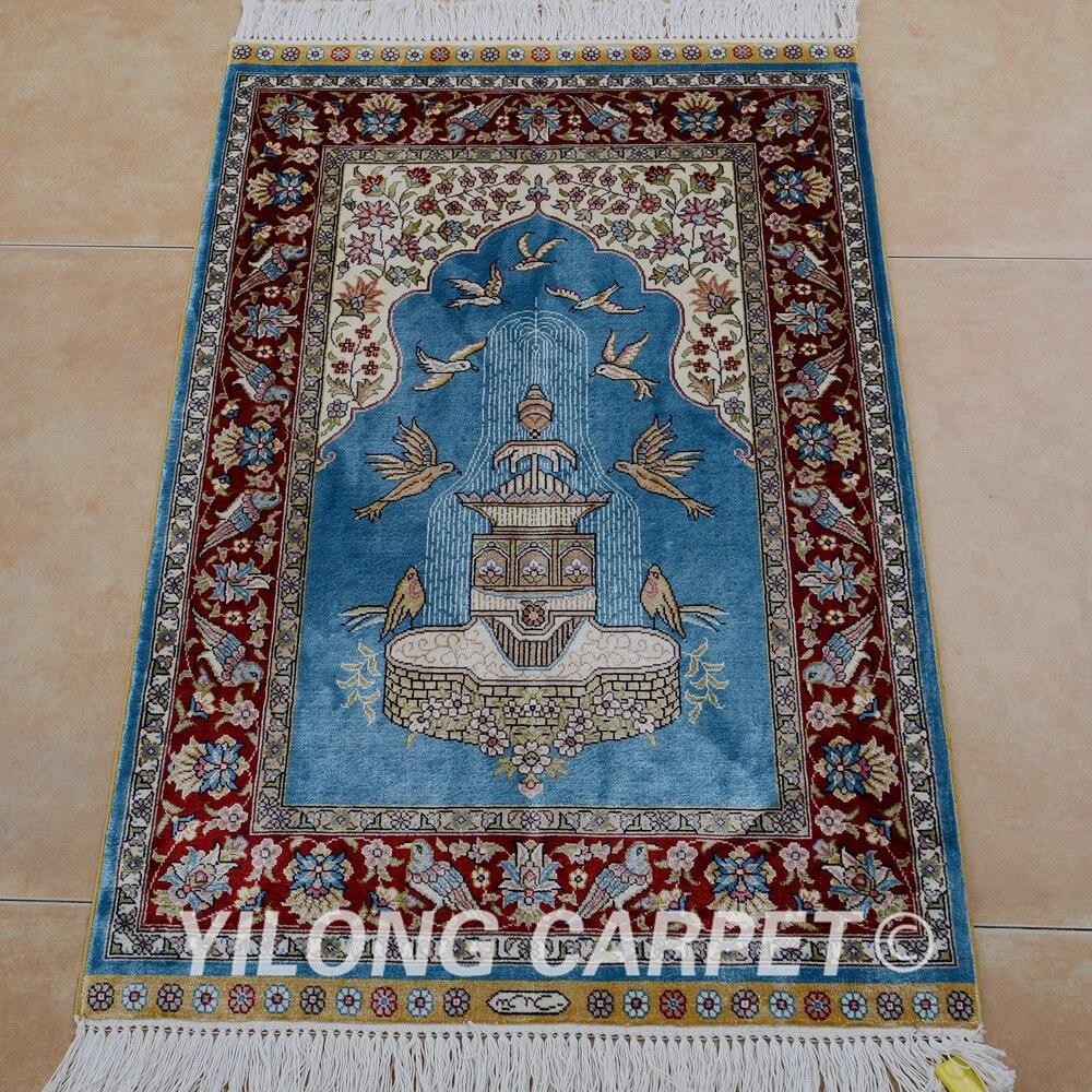 Yilong 2'x3' Turkish silk carpet prayer handmade exquisite oriental blue rugs (0464)-in Rug from Home & Garden on Aliexpress.com   Alibaba Group