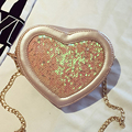 Funny Heart Shape Women PU Leather Shoulder Bag Girls Kid Clutch Messenger bag Small Cute Pink Sweet Chains Party New Lady mini