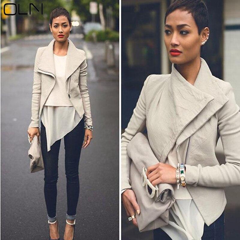 OLN Leather Jacket Woman jacket Autumn Women's PU Leather jackets female Plus Size jackets Slim Black Beige Coats Lady Gift