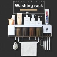Cremalheira de produtos de higiene pessoal multifuncional  casa de banho conjunto  cremalheira de escova de dentes  cremalheira de copo bucal  extrusora de pasta de dente  toalheiro|Racks e prateleiras de armazenamento|Casa e Jardim -