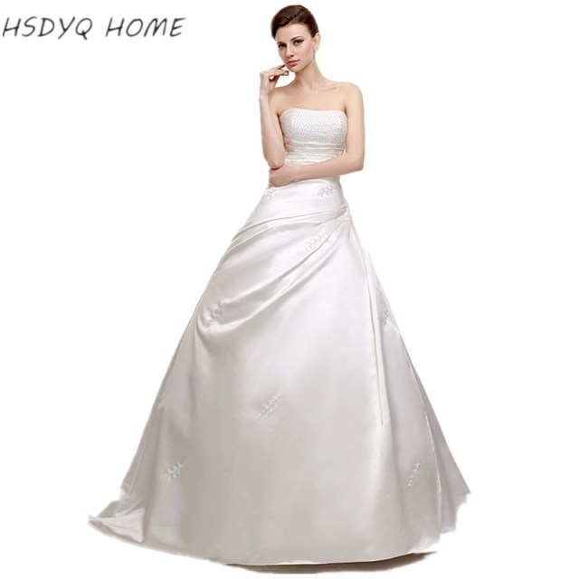 Wholesale Wedding Dresses Classic Design Perfect A line Strapless Robe De Mariage Vestido De Noiva 2017 bridal gown