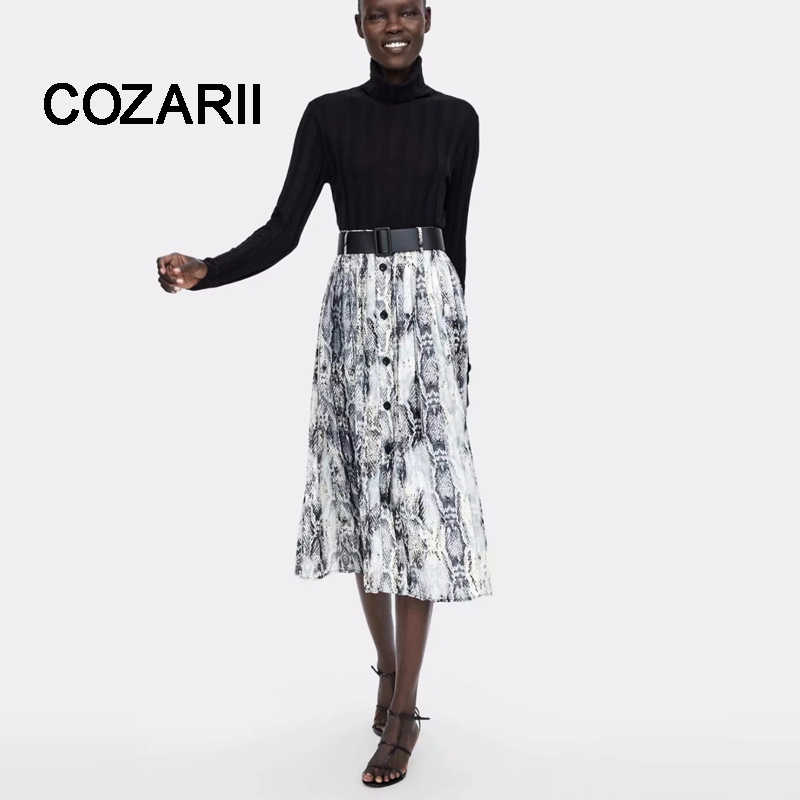 COZARII  2018 BTS skirt women england style pleated print serpentine sashes panelled mid-calf skirts womens plus size