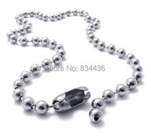 Free Shipping wholesale 5mm 316L stainless steel titanium silver color ball beads necklaces chains men women jewelry accessories