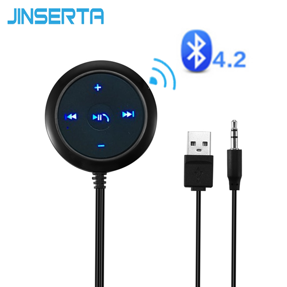 JINSERTA Auto Senza Fili 3.5mm V4.2 Bluetooth Ricevitore Audio Music Receiver Adapter Kit vivavoce Per Auto bluetooth A2DP Streaming Kit
