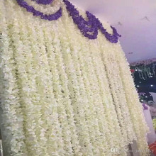 180cm Long White Hydrangea Garland Rattan Artificial Silk Wisteria Vine For Wedding Decoration Shooting Props Supplies