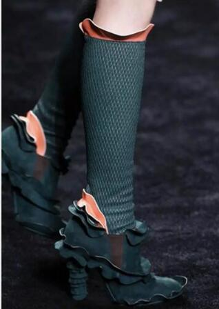 Newest Women Fashion Brand Design Ruffles Slim Legging Green Lace Boots Detachable Sexy Suede Lace Boots Bandage Boots