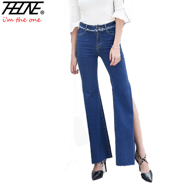 selezione premium b02c7 34f4e US $27.58  THHONE Jeans Donna Vita Alta Denim Pantaloni Side Split Alta  moda Pantaloni Lunghi Flare Gamba Larga Slim Stretch Elastico Dei Jeans  Femme ...