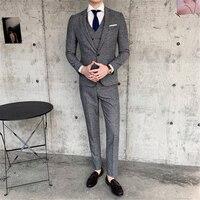 Чистый цвет классический мужской набор Модный деловой банкет мужское платье тонкий дизайн свадебные мужские куртки и брюки с жилетками