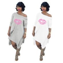 2019 New Oversize Women Dresses Sexy Lips Loose Printed Dresses S-XXXL