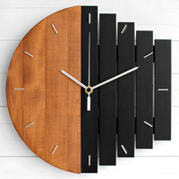 Slient Xylophone Wooden Wall Clock Modern Design Vintage Rustic Shabby Clock Quiet Art Watch Home Decoration