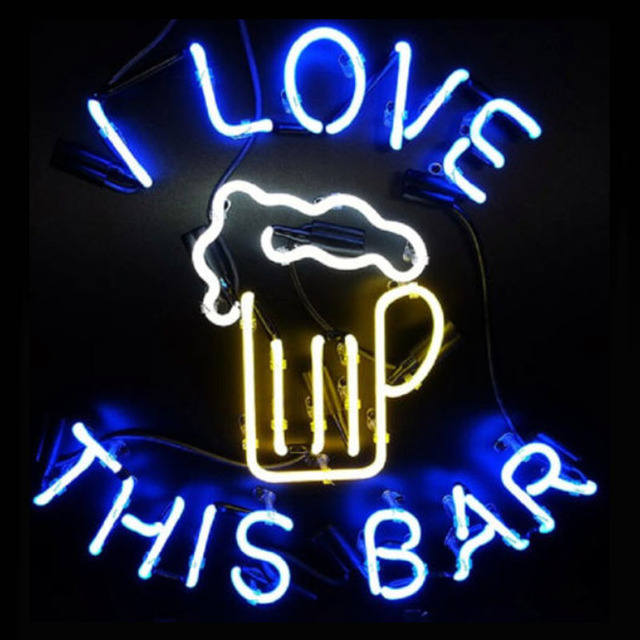 Neon Sign Real Gl Love This Bar Beer Pub Parrot Signs