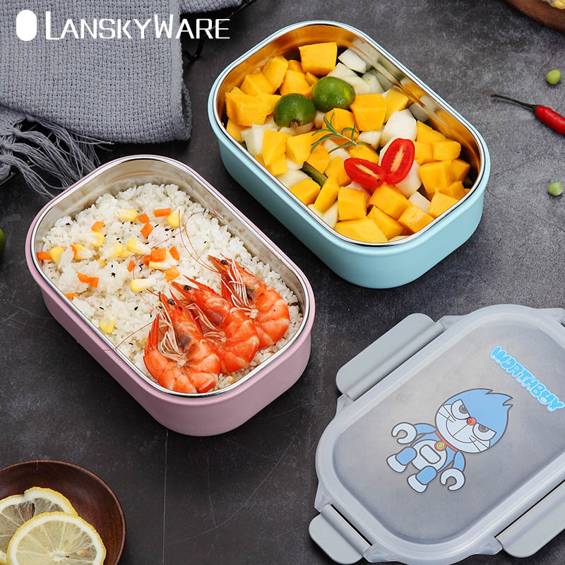 Bento Lunch Box Cartoon For Kids School Japanese Leak-Proof 304 Stainless Steel Food Container Storage