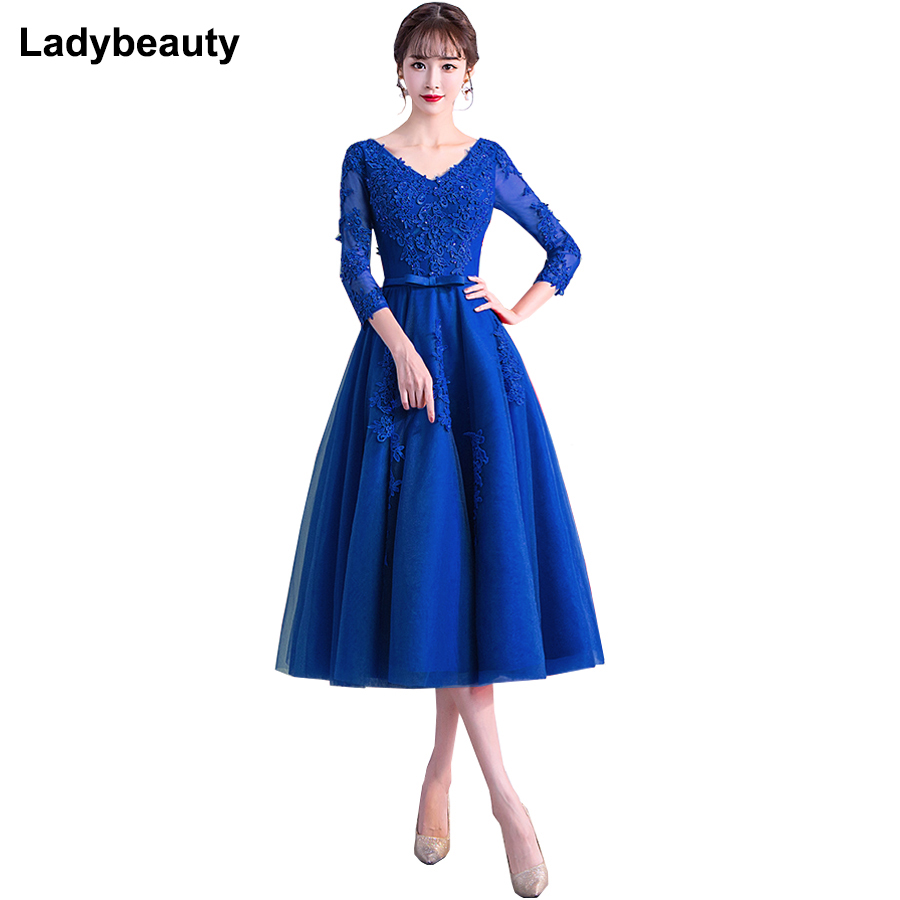 2019 New Evening Dress Long Sleeved Tea Length Prom Gowns V Neck Tulle Applique Formal Party