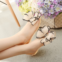 Crystal Flat Heels Transparent Women Sandals Bowtie Women 2015 New Arrival Plus Size 35 40 Peep