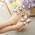Planas de Los Talones Sandalias de Las Mujeres Transparentes de cristal Bowtie Mujeres 2016 Nueva Llegada Más El Tamaño 35-40 Peep Toe Zapatos de La Jalea, zapatos de belleza