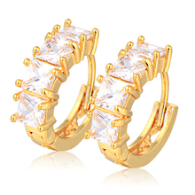 Hot selling Fashion Gold Plated Green Red White Crystal Shining Round Wedding Party For Womens Small Hoop Earrings