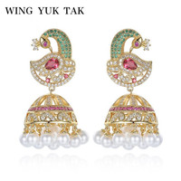 WingYukTak Fashion Classic Luxury Cubic Zircon Colorful Phoenix Imitation Pearl Statement Drop Earrings For Women Copper