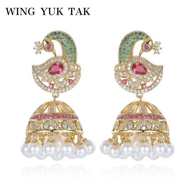 WingYukTak Fashion Classic Luxury Cubic Zircon Colorful Phoenix Imitation Pearl Statement Drop Earrings For Women Copper