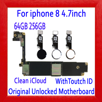 64GB 256GB Free iCloud for iphone 8 Motherboard with/without Touch ID,Original unlocked for iphone 8 Mainboard,100% Good Tested