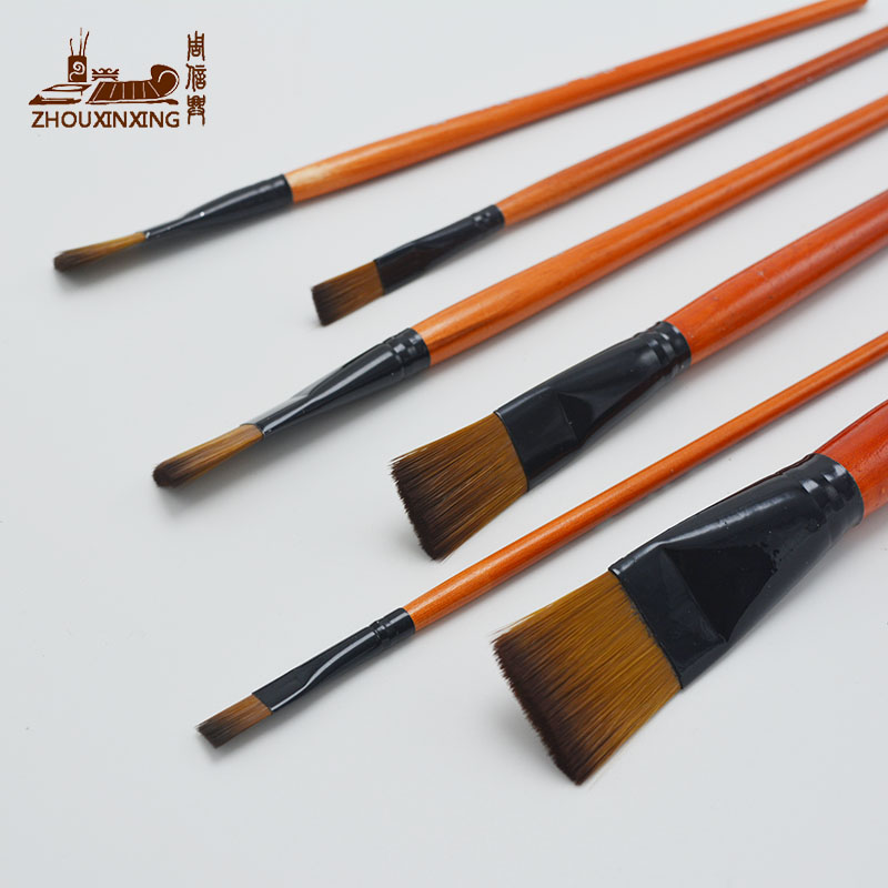 6pcs/Set Watercolor Gouache Painting Pen Nylon Hair Orange Short Wooden Handle Paintbrush Set Drawing Materials Art Supplies