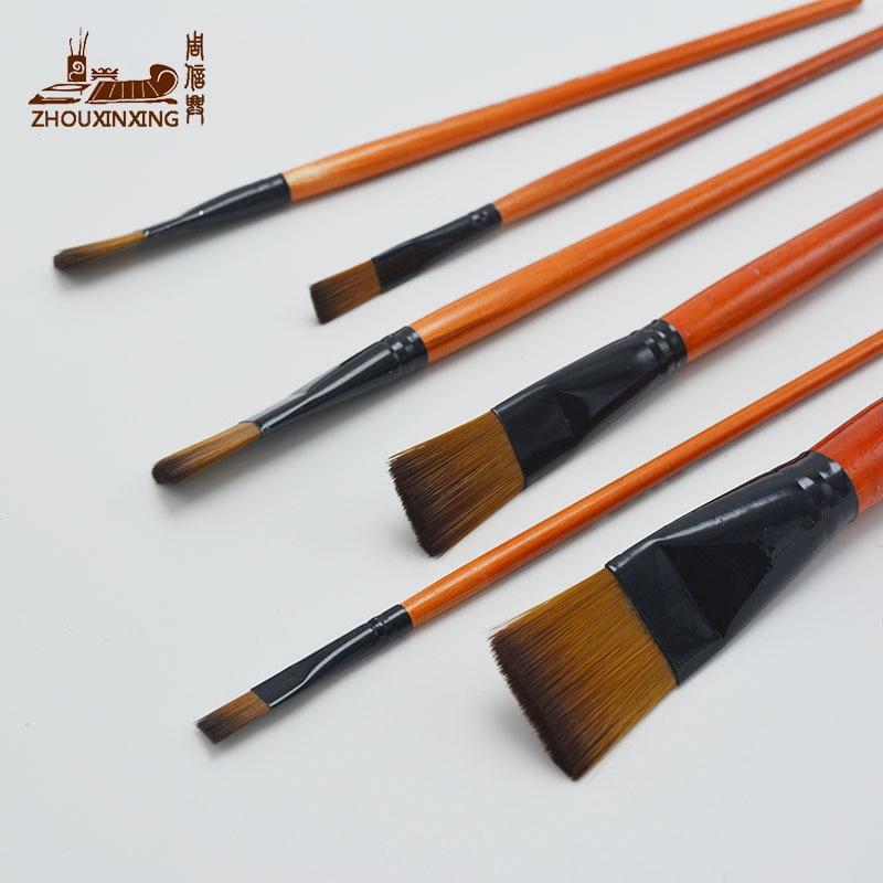 6pcs/Set Watercolor Gouache Painting Pen Nylon Hair Orange Short Wooden Handle Paintbrush Set Drawing Materials Art Supplies