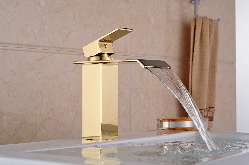ФОТО Luxury Square Golden Faucet Hot And Cold Mixer Tap Waterfall Spout Vanity Sink Mixer Tap Deck Mounted Single Handle Hole