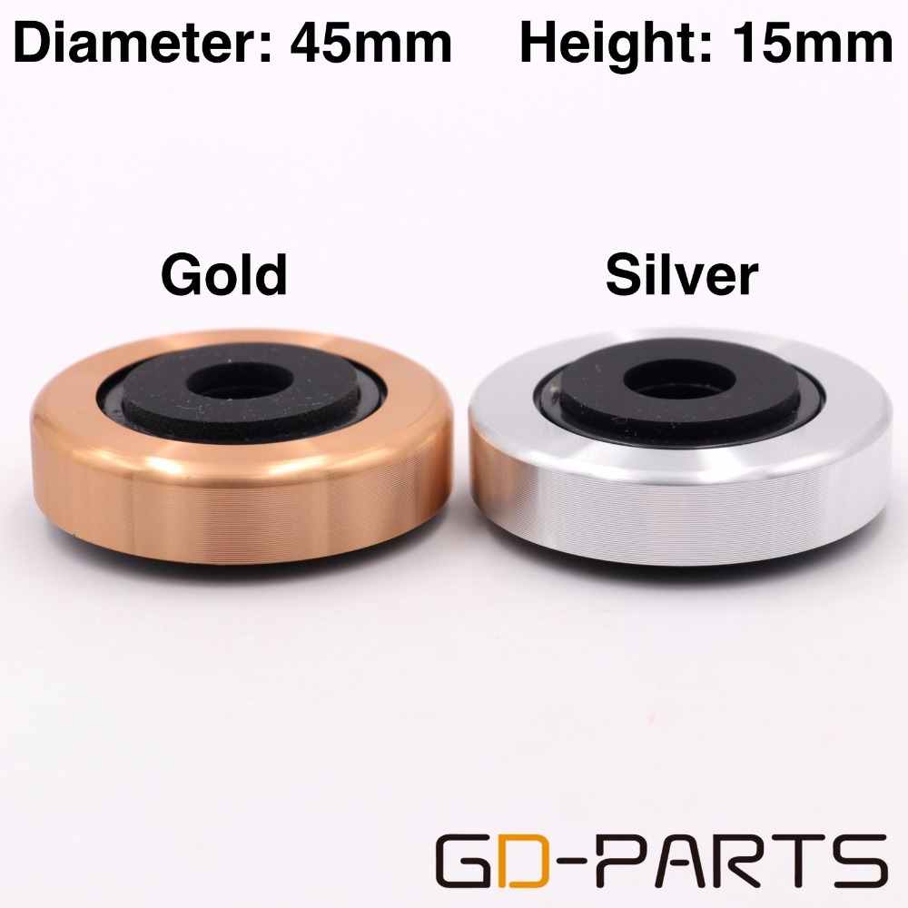 45x15mm Aluminum Plastic Speaker AMP Isolation Feet Pad Stand Base Mat For Cabinet CD Player Turntable DAC Radio Silver Gold