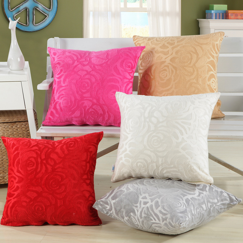 Patio Furniture Cushion Cover Patterns: Plain Velvet Floral Pattern Cushion Cover Decorative Throw