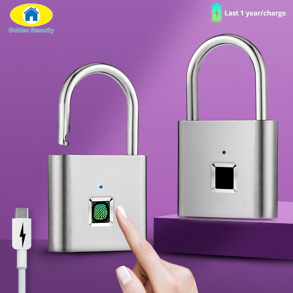 Golden Security 1pc Intelligent USB Rechargeable Door Lock Fingerprint Padlock For Bag Quick Unlock Fingerprint Cabinet Lock