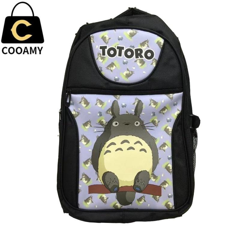 ФОТО Men Anime Neighbor Totoro Laptop Black Printing Backpack Shoulder School Travel Bag for Teenagers Student Bookbag rucksack