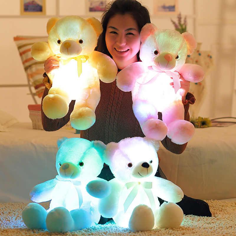 Luminous 30/50/80 centímetros Criativo LED Light Up Teddy Bear Stuffed Animal Plush Brinquedo de Incandescência Colorido Pelúcia urso Presente de Natal para o Miúdo