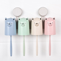 Toilet Suction Toothbrush Holder CupWith Cartoon Cups Wheat Straw Holder Sets Sucker Bathroom Accessories Eco Friendly