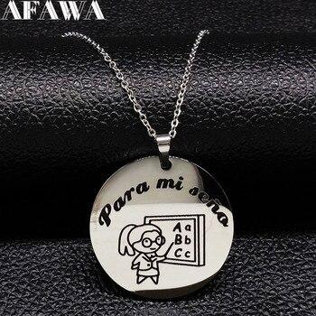 e24464aa5812 2019 España profesor collares de acero inoxidable de las mujeres de Color  plata collar regalo de