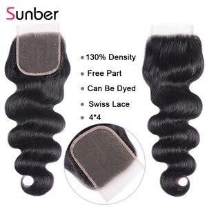 Image 5 - Sunber שיער ברזילאי גוף גל עם סגירת גבוהה יחס 100% אדם רמי הארכת שיער חבילות עם סגירה