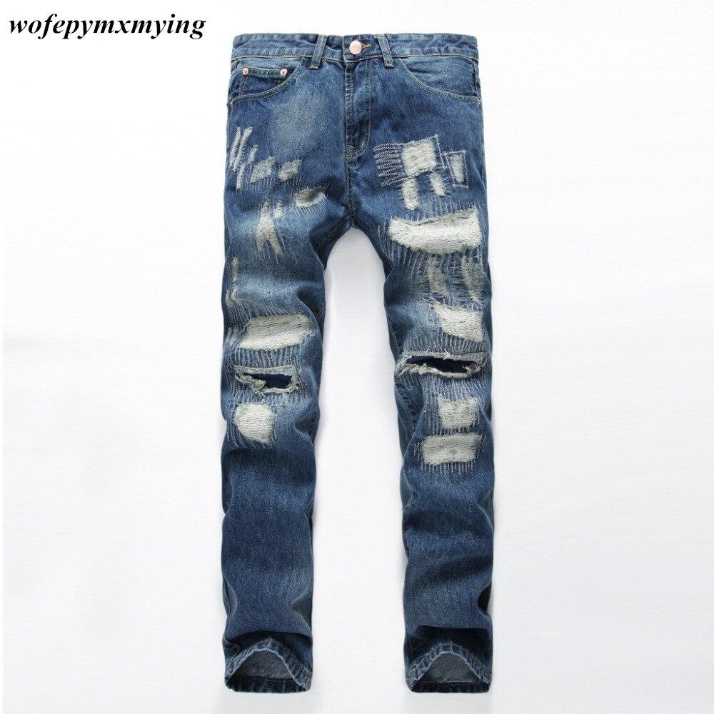 76ec9164bb0 Новый стиль высокое качество мужская синий разорвал джинсы Горячий  Продавать Slim Fit Проблемные Denim Байкер Джинсы Мужские Повседневные  Брюки Тощий джинсы