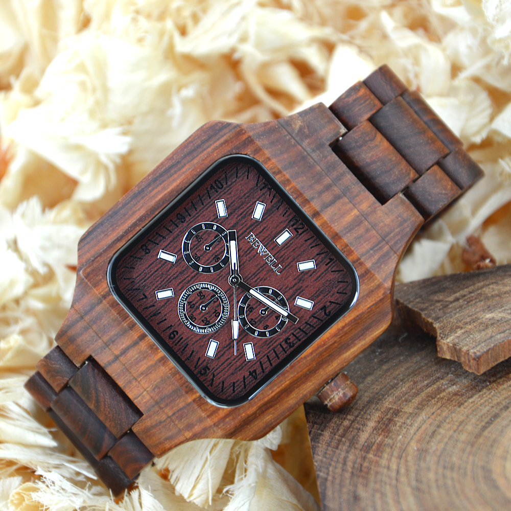 BEWELL Luxury Brand Men Wooden Watches Luminous Hands Waterproof Quartz Stop Watch Male Dress Wood Watch in Gift Box 001A wood business watches with waterproof luminous clock bewell men wooden wristwatch for male watch your family christmas gift 146a