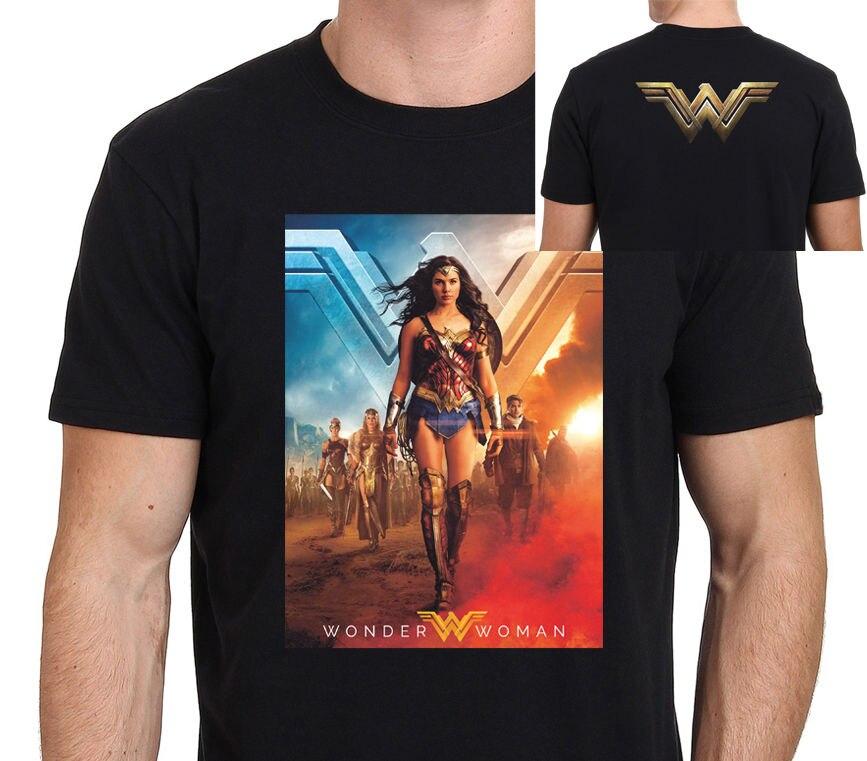 Новый Wonder Woman Постер Фильма мужская Футболка Размер: S-XXL 2018 Новое Лето Мужчины Горячая продажа Мода Лето О-Образным Вырезом