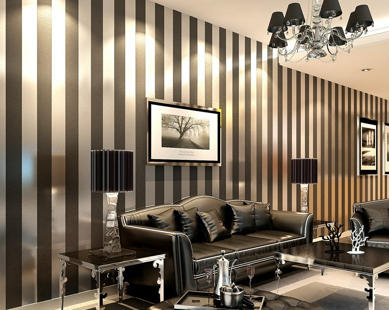 Hot Sales 2015 Sliver And Dark Grey Striped Wallpaper Roll 10m With