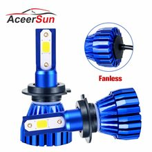 Aceersun LED H7 LED H4 LED Headlight Bulb H4 8000LM H11 12V H1 9005 9006 9012 24V MINI H3 COB Chip 6500K 4300K Fog Light Fanless(China)