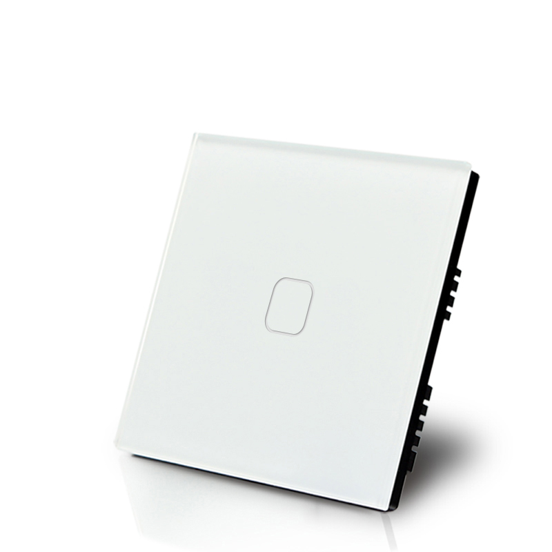 style practical white UK light touch switch 2 way 1 gang wall switch 220V single live line tempered glass for fashion household smart home us au wall touch switch white crystal glass panel 1 gang 1 way power light wall touch switch used for led waterproof