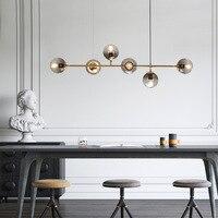 Nordic Glas Ball Kronleuchter Beleuchtung Vintage Dekorative Hängen Licht Moderne esszimmer Drop Licht Leuchte|Pendelleuchten|   -