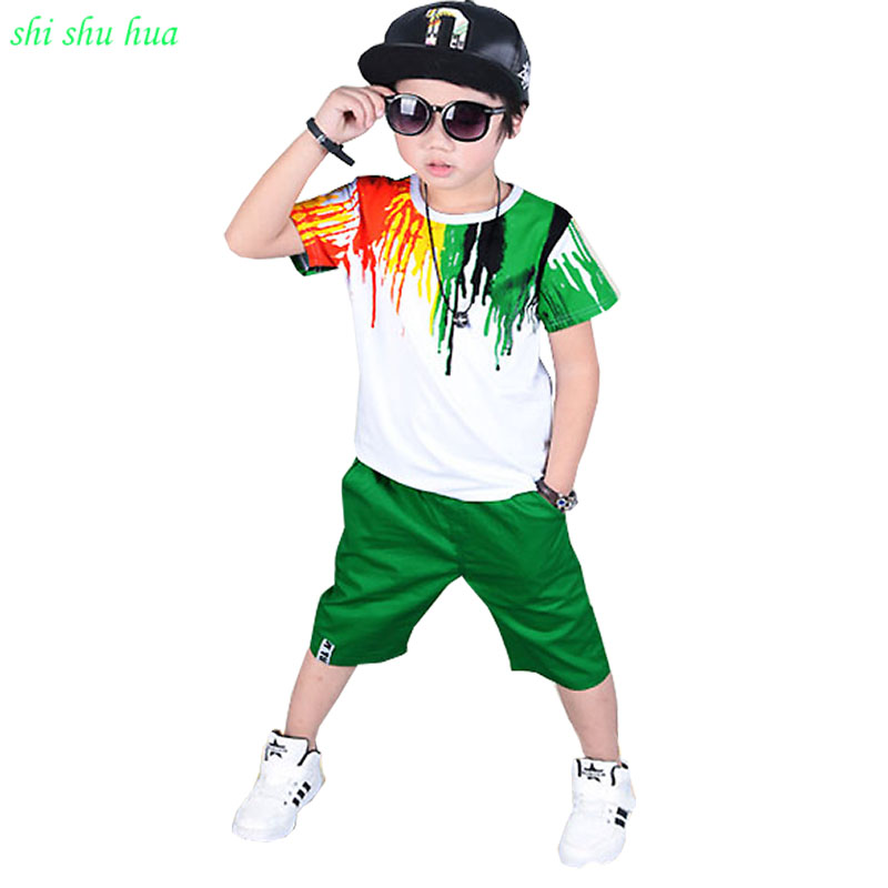 baby boy clothes summer season Kids Short Sleeve T-shirt+Cropped Pants Rainbow Print Fashion Sports Suit 3-12y Children's wear la pastel 3 30 30